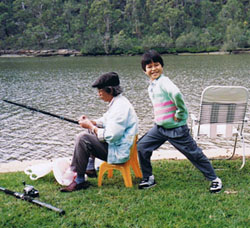 Huy Pham as a child on the Georges River Sydney